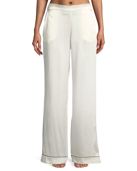 Contrast-Piping Wide-Leg Silk Pajama Pants