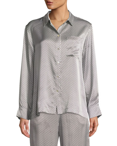 Monochrome Geometric-Print Silk Long-Sleeve Pajama Top