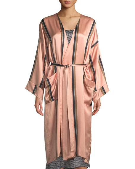 Bold Striped Classic Silk Robe