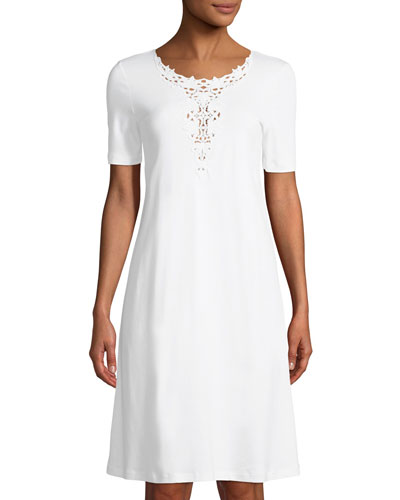 Jasmin Short-Sleeve Nightgown with 3D Floral Embroidery