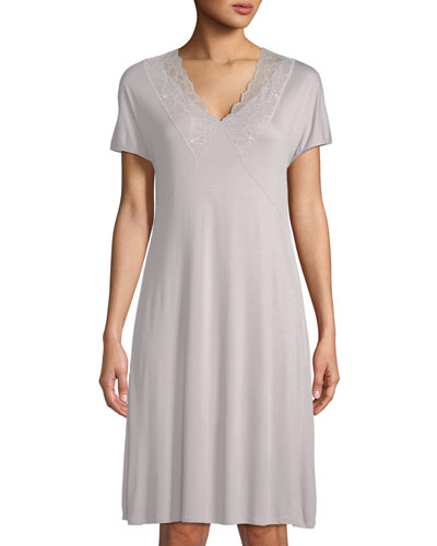 Rose Short-Sleeve Lace-Trim Nightgown