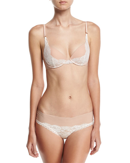 Bella Admiring Lace-Trim Bikini Briefs, Pink