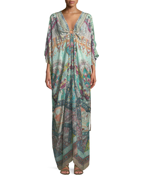 Plunging Ring Printed Silk Caftan Coverup