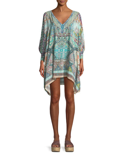 V-Neck Printed Silk Coverup Kaftan, One Size