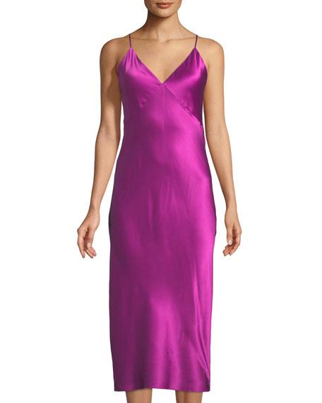 Issa Sleeveless Long Silk Nightgown