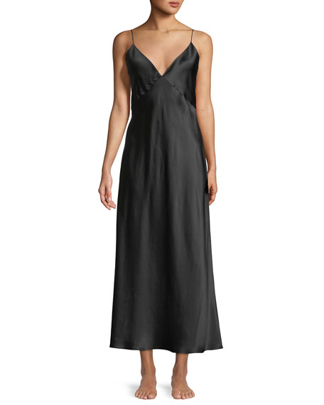 OLIVIA VON HALLE Issa Long Silk Nightgown in Black