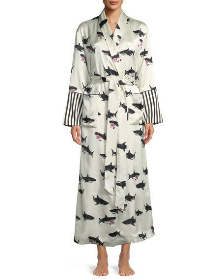 cfe451fcf3 Capability Calvin Shark-Print Long Silk Robe