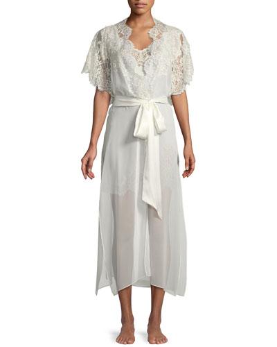Beloved Lace-Trim Long Silk Robe