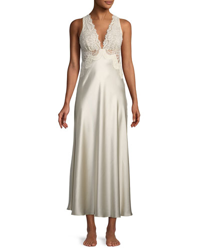 Beloved Lace-Trim Long Nightgown