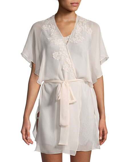 CHRISTINE DESIGNS Beloved Lace-Applique Chiffon Robe in Light Pink