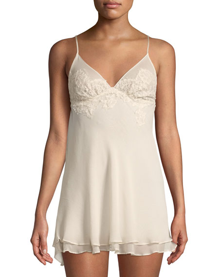 CHRISTINE DESIGNS Beloved Lace-Trim Chiffon Chemise in Light Pink