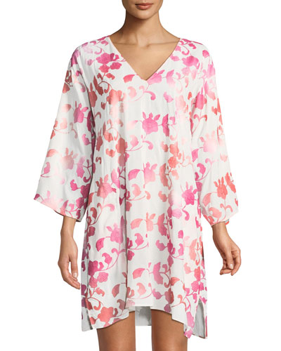 Phuket Floral-Embroidered Caftan