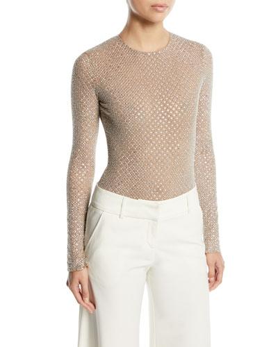 Long-Sleeve Embellished Stretch-Tulle Bodysuit
