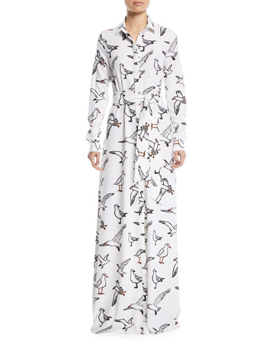 Seagull-Print Button-Down Long-Sleeve Tie-Waist Long Dress