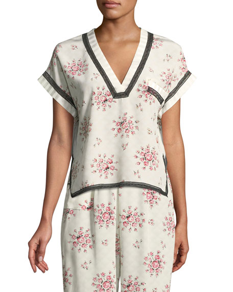 YEVA TEA ROSE SILK PAJAMA TOP