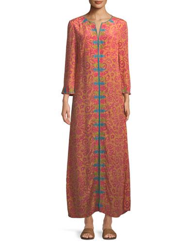 Vanessa Long-Sleeve Silk Crepe Long Caftan