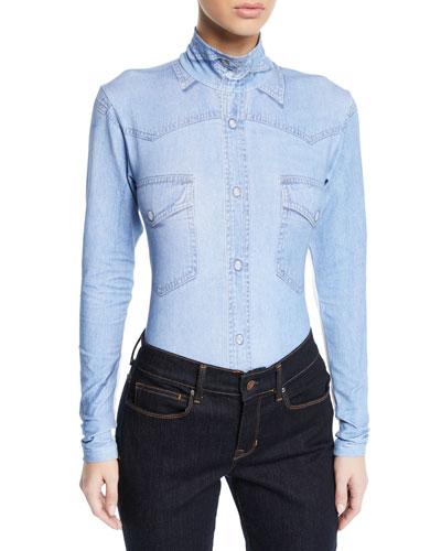 Long-Sleeve Denim-Print Bodysuit