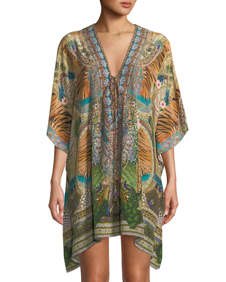 CAMILLA THE LONG WAY HOME LACE-UP PRINTED SILK KAFTAN, ONE SIZE