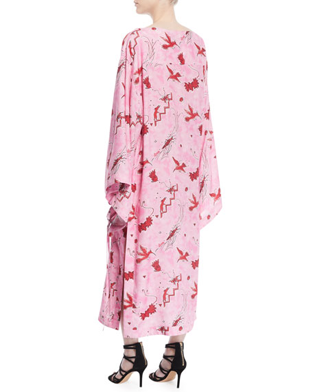 Long-Sleeve Bird-Print Long Caftan Dress