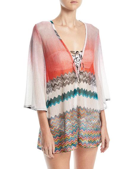 Striped Crochet Cover-Up Dress, Multi