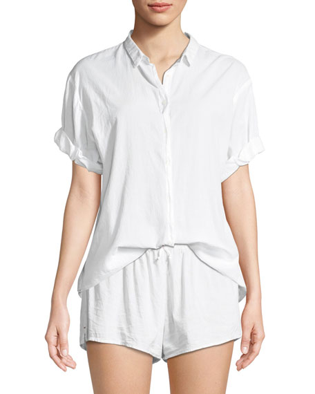 Xirena Channing Short-Sleeve Cotton Lounge Shirt