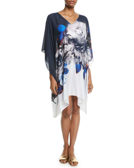 Jets By Jessika Allen PICTURESQUE SHORT FLORAL COVERUP KAFTAN