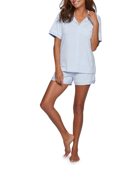 POUR LES FEMMES Bamboo Shorty Pajama Set in Light Blue