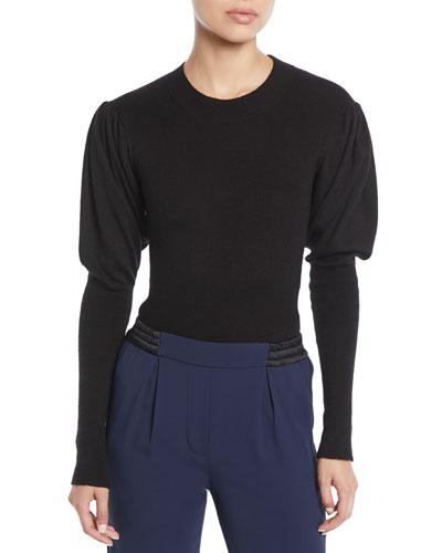 Puff-Sleeve Cashmere Bodysuit