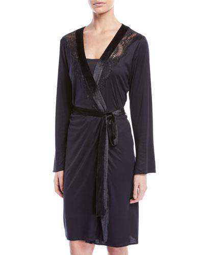 Ava Velvet-Trim Short Robe