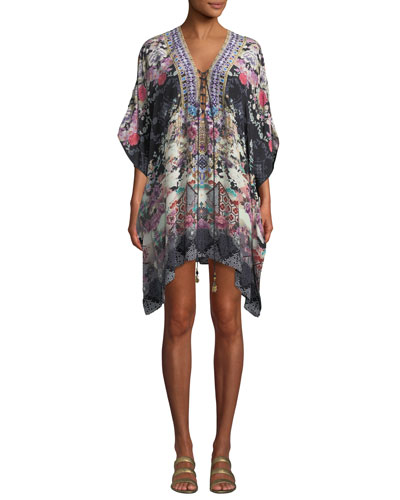 Printed Lace-Up Short Kaftan Coverup