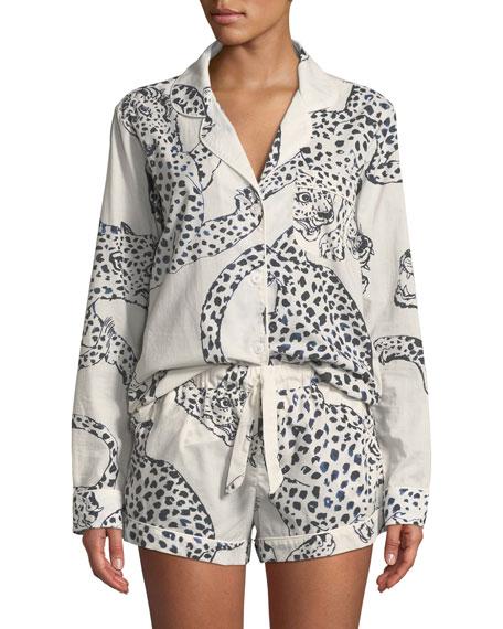 DESMOND & DEMPSEY Leopard Print Classic Short Pajama Set in White/Black