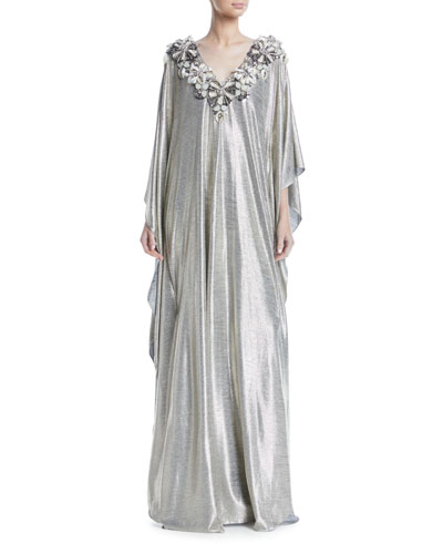 Floral-Embroidered V-Neck Metallic Caftan Evening Gown