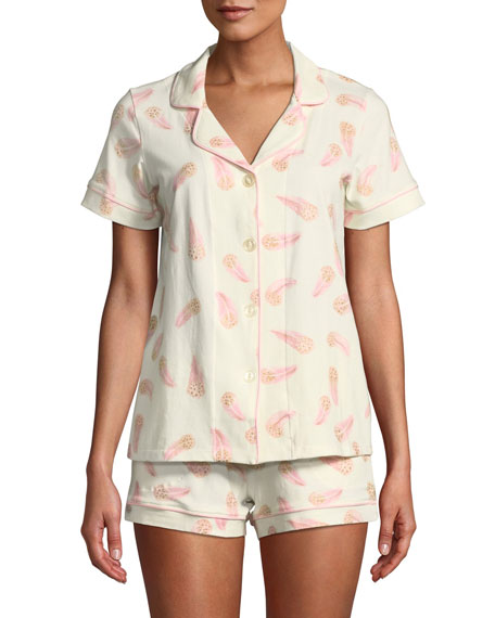 BEDHEAD Pink Feathers Knit Shortie Pajama Set in Multi Pattern