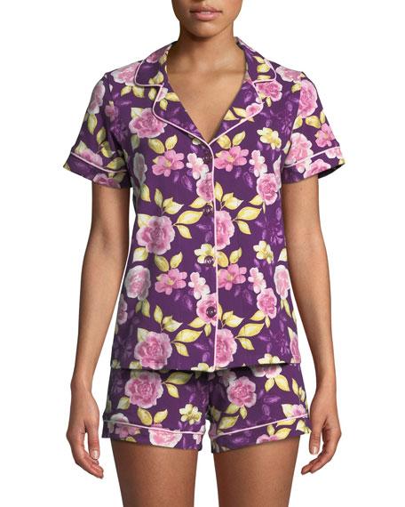 BEDHEAD Garden Of Romance Knit Shortie Pajama Set in Purple Pattern