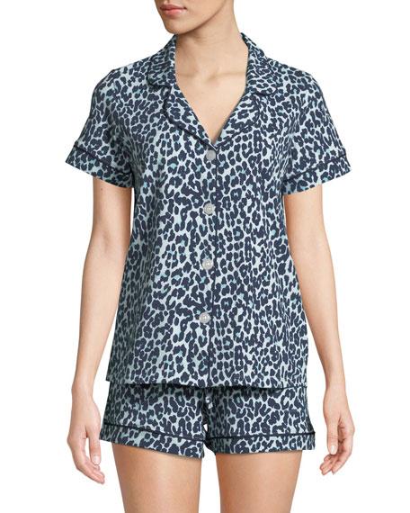 BEDHEAD Cheetah Knit Shortie Pajama Set in Blue Pattern