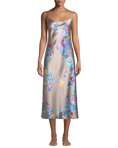 Angkor Floral-Print Silk Nightgown