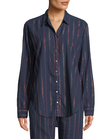 XIRENA BEAU BECKETT STRIPED LOUNGE SHIRT