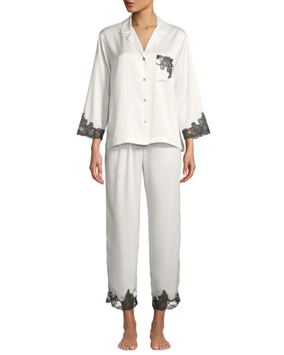 Plume Lace-Trim Satin Pajama Set