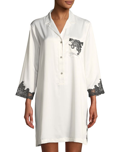 Plume Feathers-Lace Satin Sleepshirt