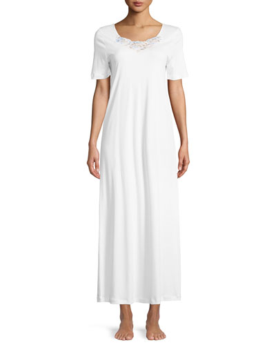 Jana Short-Sleeve Long Nightgown