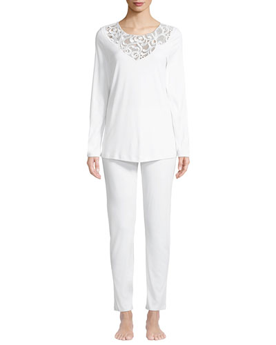Ella Lace-Trim Long Pajama Set