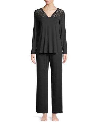 Lace-Trim Long Pajama Set
