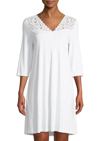 3/4-Sleeve Lace-Trim Nightgown