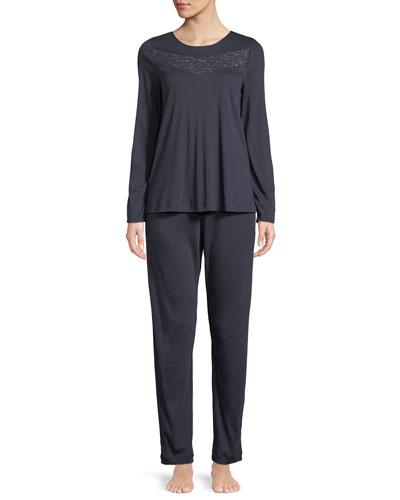 Liv Long Lace-Yoke Pajama Set