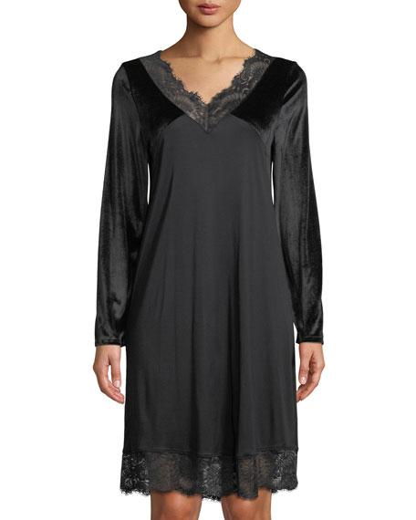 f3b9efaa71 Hanro Long-Sleeve Lace-Trim Nightgown