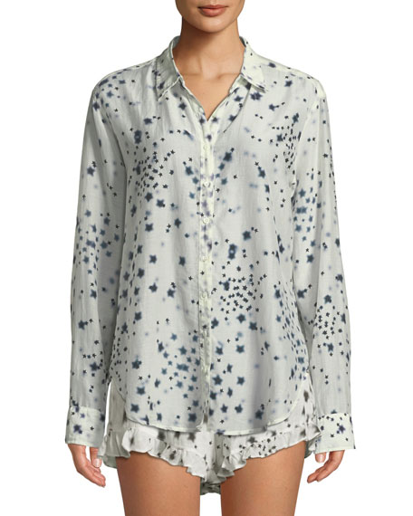 XIRENA Beau Etoile-Print Lounge Shirt in White Pattern