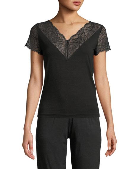 ZIMMERLI Poetic Botanicals Lace-Trim Lounge Shirt in Black