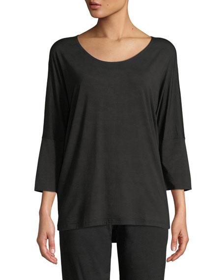 ZIMMERLI Poetic Botanical 3/4-Sleeve Lounge Shirt in Black