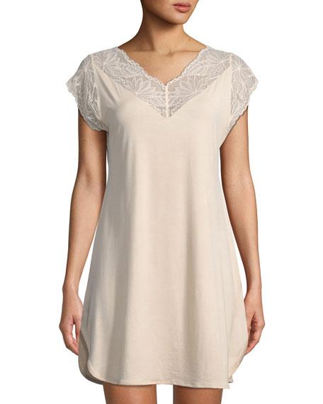 ZIMMERLI Poetic Botanicals Short-Sleeve Nightgown in Neutral Pattern