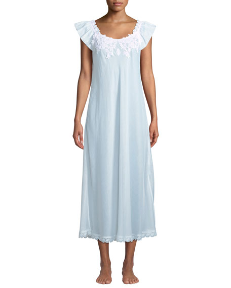 CELESTINE Princesa Floral-Applique Cap-Sleeve Nightgown in White